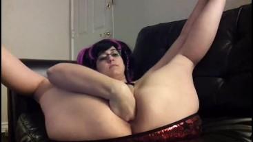 Fist fucking my meaty pussy and vibrator masturbation