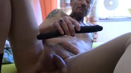 He stuffed himself a 17- inch(dildo) toys completely in the ass !!