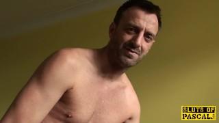 Ballgagged UK sub whipped before throatfucked