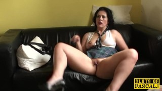 Ballgagged UK sub whipped before throatfucked porno