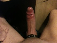 Big dicked skinny white male edging with foreskin and cumming loads