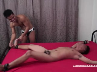 Twink Asian Boy Jacob Tied and Tickled