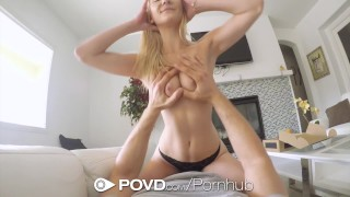 POVD Delivery man fucks and facials blonde Jade Amber  close up point of view couple blonde blowjob pov toys hardcore doggy sex shaved povd facial pussy licking