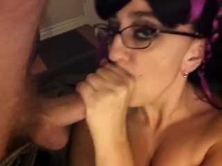 Meaty pussy masturbation while sucking cock and taking a huge facial