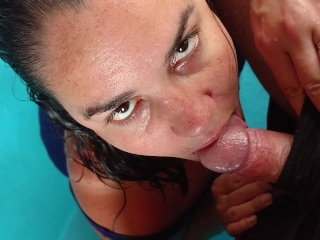 Milf nearly caught giving blowjob in the jacuzzi