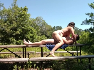 Milf's quick outdoor fuck while on a camping trip