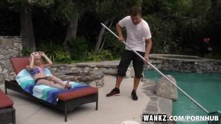 WANKZ- Piper Perri Seduces the Pool Guy Pussy drilled