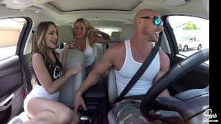 Kimmy Granger Picked up and Dual CreamPied w/ Kissa Sins and Johnny Sins Pawg cock