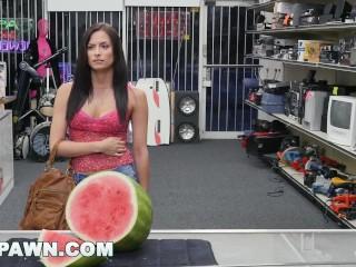 XXXPAWN - Alexis Deen Swallows My Sword in Pawn Shop Backroom (xp15248)