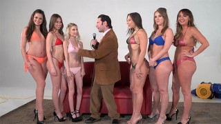Girling Abella D, Charlotte C and Harley J in lesbian oil toy action