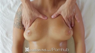 PASSION-HD Oiled up massage fuck with brunette busty Layla London Blonde busty