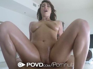 POVD Brunette Christiana Cinn rub down massage fuck and facial