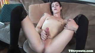 On cock stunning wanks casting couch trans stockings audition