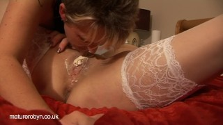 Strap-on and Licking Fun  lesbian strap on mature housewife pussy licking big boobs shaved pussy old