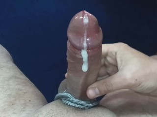 Super thick cumshot with tied dick and balls