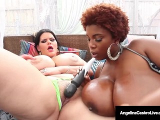 Busty BBW, Angelina Castro & Maserati get oily & masturbate!