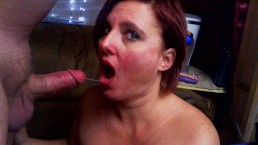 Chocking on a cock and huge facial