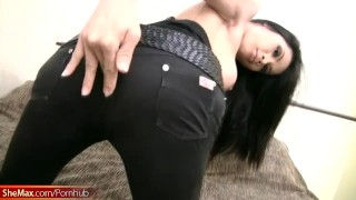 Jerks black cums and breasts round beauty hair with ladyboy boobs jeans
