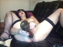 Giant Bam dildo meaty pussy fucking