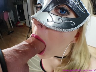 NO HANDS BLOWJOB – MOUTH FULL OF CUM !