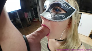 NO HANDS BLOWJOB - MOUTH FULL OF CUM ! Sexy amateur