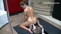 Horny hot wife rides 3 dildos from smallest to largest until satisfied