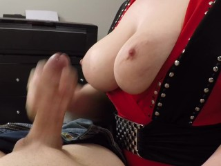 Busty Girl's First Time Giving Handjob on Camera