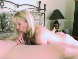 Dolcecandies cute blonde seduces blindfolded man in his wifes bed blowjob blonde sn