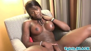 Athletic black trans twerks and tugs solo