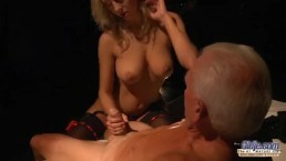 Seductive young babe sex with horny old man. Teen Fucked and cum on face