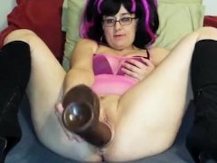 Fisting my pussy with huge dildo and buttplug stuffing