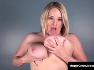 Miss Maggie Green Finger Fucks ASS, Then inserts Big Dildo!