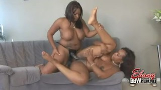 BBW Babes Angel And Skyy Strapon Fucking Doggy big