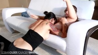 LesbianOlderYounger Dana Eats Out Remy girl on girl mommy milf lesbo step daughter older younger big tits hottie mom mother tattoo small tits kissing brunette skinny natural tits lesbianolderyounger stepmom pussy licking