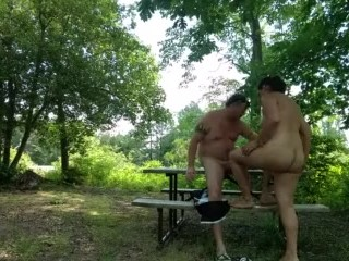 FUCK!!! WE GOT CAUGHT TRYING TO FUCK ON THIS PICNIC TABLE..DAMN!!!!!