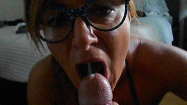 Babe with glasses loves to suck a cock dry! Hornytina