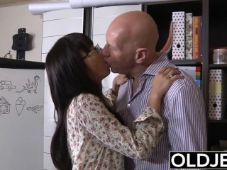 Preview 4 of Asian Young Babe Fucked by bald old man she sucks dick pussy sex swallows