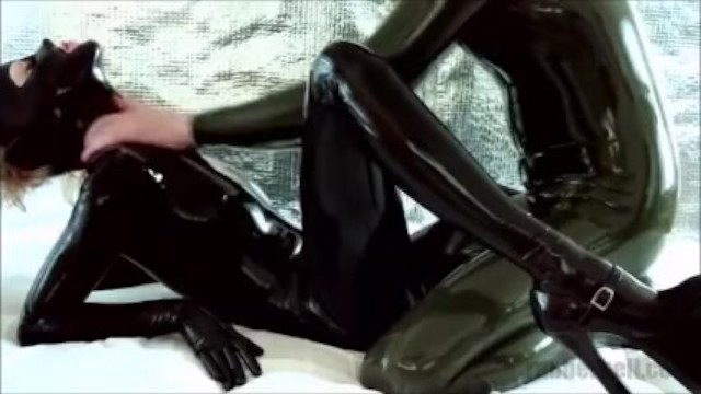 Rubber fetish community Naughty black latex kitty on webcam: getting oily massage from rubber boy