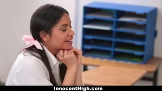 InnocentHigh - Hot Slender Teen Threesome With Teachers Assistant & Profess 3some small
