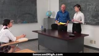 InnocentHigh - Hot Slender Teen Threesome With Teachers Assistant & Profess