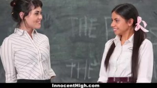 InnocentHigh - Hot Slender Teen Threesome With Teachers Assistant & Profess