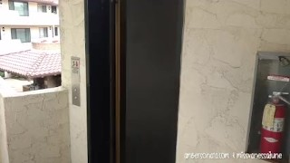 Public Elevator Girl Fingers Girl Passionately! Natural tits