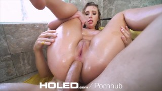 HOLED Big dick shoved up brunette Harley Jade tight asshole