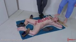 Blonde sub girl gets turned into a literal doormat