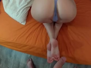 HER TIGHT, SOFT PUSSY & BIG ASS MAKES ME CUM IN 1 MINUTE. CUM ON FEET.Part2