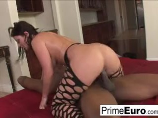 Big tit brunette Sophie Dee has interracial fun