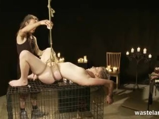 Blode Teen In Bondage Hot Waxed And Giving A Gagging Blowjob