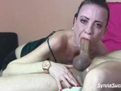 SYLVIA CHRYSTALL EURO BABE SHINY SLOPPY DROOLING FACEFUCK POV IN THE MIRROR