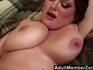 AdultMemberZone – Busty redhead shakes her boobs for a big load .