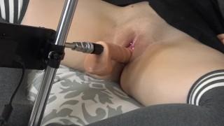 Fuck Machine Destroying School Girl's Tight Pussy
